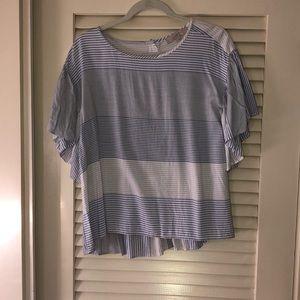Loft blue and white striped flutter sleeve top